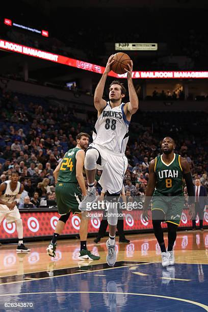 Nemanja Bjelica of the Minnesota Timberwolves goes up for a lay up during a game against the Utah Jazz on November 28 2016 at the Target Center in...