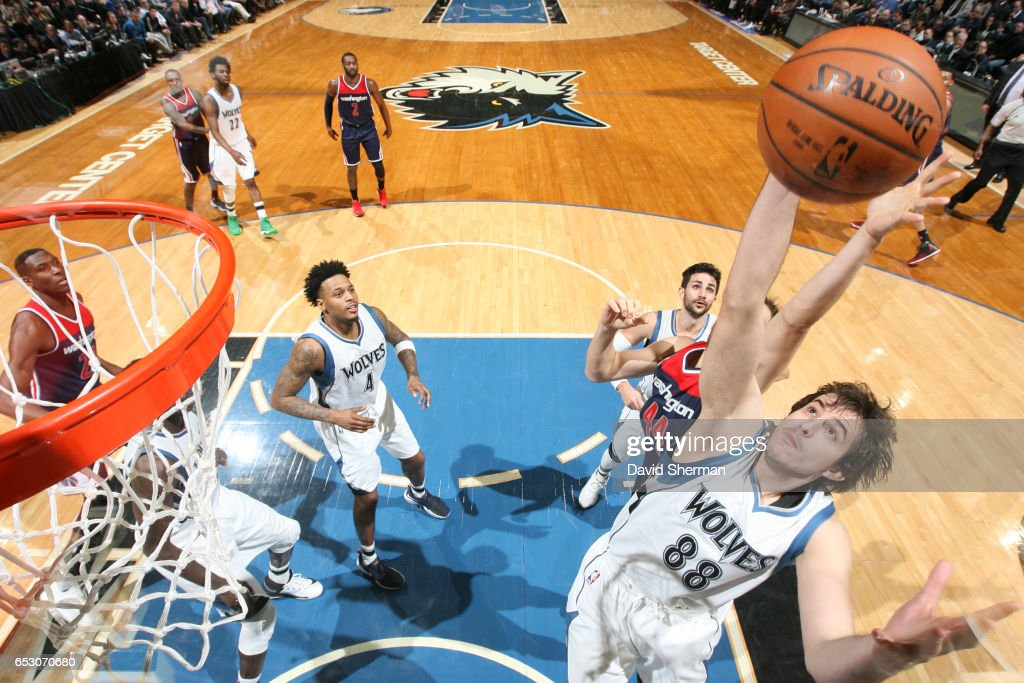Nemanja Bjelica #88 of the Minnesota Timberwolves goes up for a rebound during a game against the Washington Wizards on March 13, 2017 at Target Center in Minneapolis, Minnesota.