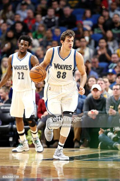 Nemanja Bjelica of the Minnesota Timberwolves handles the ball during the game against the Atlanta Hawks on December 26 2016 at Target Center in...