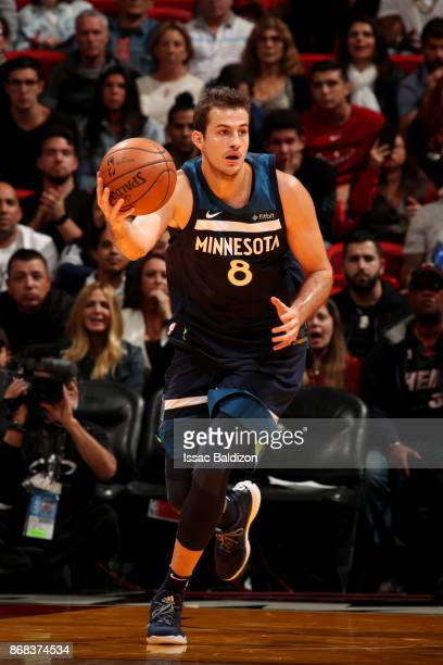 Nemanja Bjelica of the Minnesota Timberwolves handles the ball during the game against the Miami Heat at the American Airlines Arena on October 30...