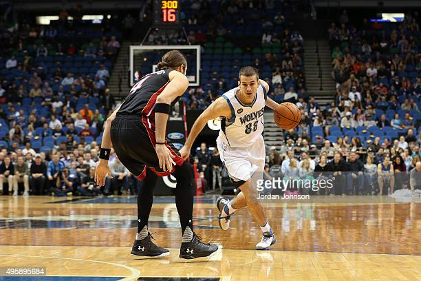 Nemanja Bjelica of the Minnesota Timberwolves handles the ball against the Miami Heat on November 5 2015 at Target Center in Minneapolis Minnesota...