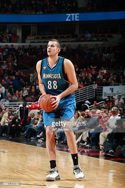 Nemanja Bjelica of the Minnesota Timberwolves handles the ball against the Chicago Bulls on November 7 2015 at the United Center in Chicago Illinois...