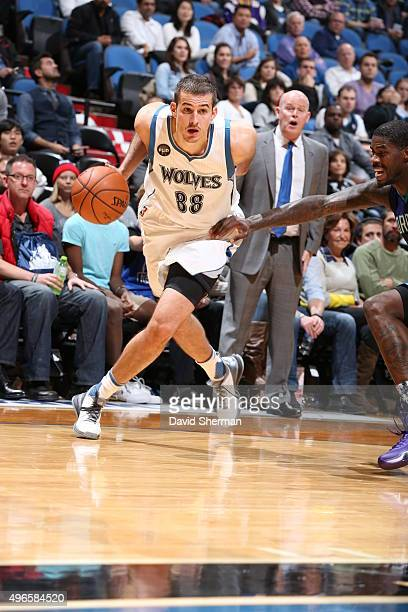 Nemanja Bjelica of the Minnesota Timberwolves handles the ball against the Charlotte Hornets on November 10 2015 at Target Center in Minneapolis...