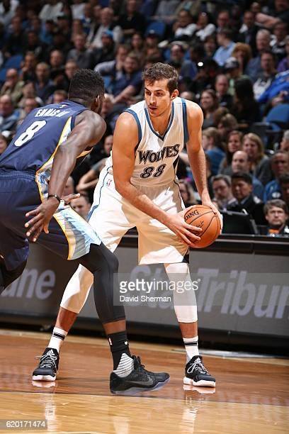 Nemanja Bjelica of the Minnesota Timberwolves handles the ball against the Memphis Grizzlies on November 1 2016 at Target Center in Minneapolis...
