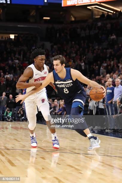 Nemanja Bjelica of the Minnesota Timberwolves handles the ball against the Detroit Pistons on November 19 2017 at Target Center in Minneapolis...