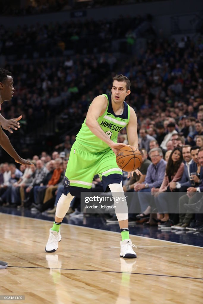 Nemanja Bjelica #8 of the Minnesota Timberwolves handles the ball against the Toronto Raptors on January 20, 2018 at Target Center in Minneapolis, Minnesota.