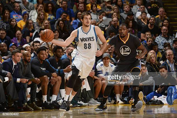 Nemanja Bjelica of the Minnesota Timberwolves looks to pass the ball during a game against the Golden State Warriors on November 26 2016 at ORACLE...