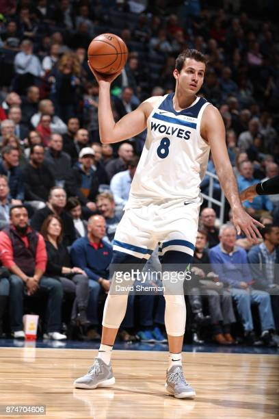 Nemanja Bjelica of the Minnesota Timberwolves passes the ball against the San Antonio Spurs on November 15 2017 at Target Center in Minneapolis...