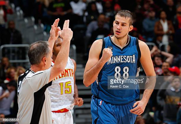 Nemanja Bjelica of the Minnesota Timberwolves reacts after hitting a basket against the Atlanta Hawks at Philips Arena on November 9 2015 in Atlanta...