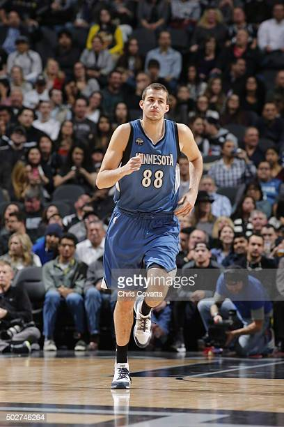 Nemanja Bjelica of the Minnesota Timberwolves runs the court against the San Antonio Spurs on December 28 2015 at the ATT Center in San Antonio Texas...