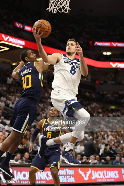 Nemanja Bjelica of the Minnesota Timberwolves shoots a lay up against the Utah Jazz during the game on October 20 2017 at Target Center in...