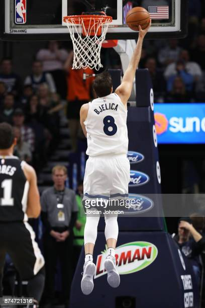 Nemanja Bjelica of the Minnesota Timberwolves shoots a layup against the San Antonio Spurs on November 15 2017 at Target Center in Minneapolis...