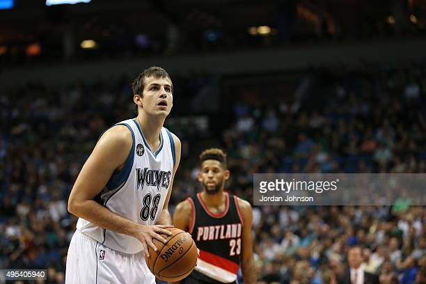 Nemanja Bjelica of the Minnesota Timberwolves shoots against the Portland Trail Blazers during the game on November 2 2015 at Target Center in...