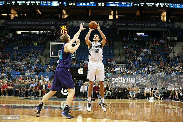 Nemanja Bjelica of the Minnesota Timberwolves shoots the ball against the Charlotte Hornets on November 10 2015 at Target Center in Minneapolis...