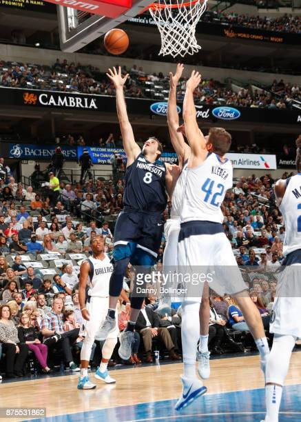 Nemanja Bjelica of the Minnesota Timberwolves shoots the ball against the Dallas Mavericks on November 17 2017 at the American Airlines Center in...