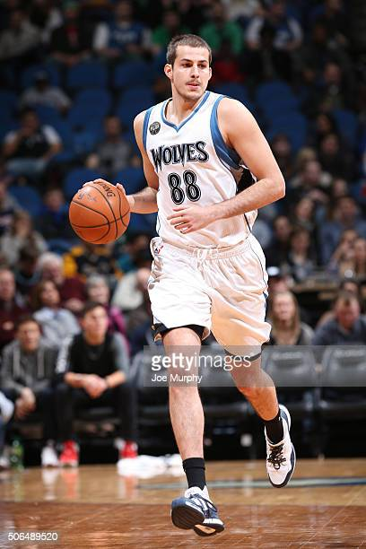 Nemanja Bjelica of the Minnesota Timberwolves takes the ball up court against the Memphis Grizzlies on January 23 2016 at Target Center in...
