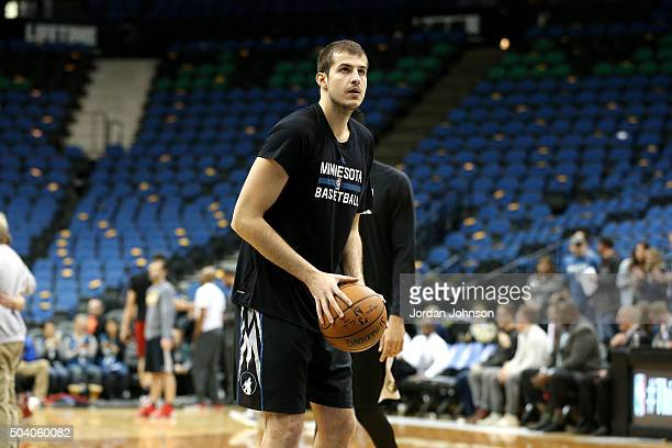Nemanja Bjelica of the Minnesota Timberwolves warms up before the game against the Cleveland Cavaliers on January 8 2016 at Target Center in...