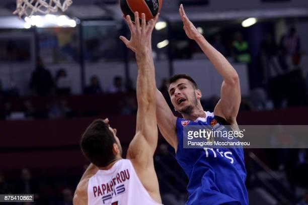 Nemanja Dangubic #6 of Crvena Zvezda mts Belgrade in action during the 2017/2018 Turkish Airlines EuroLeague Regular Season Round 8 game between...