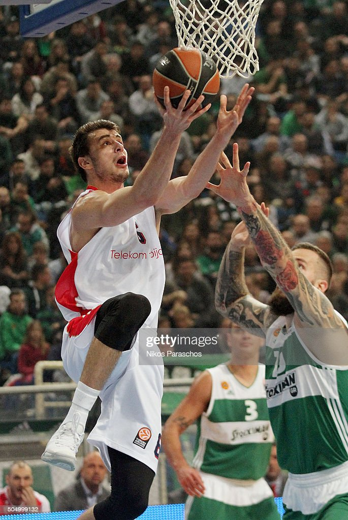 Nemanja Dangubic, #6 of Crvena Zvezda Telekom Belgrade in action during the Turkish Airlines Euroleague Basketball Top 16 Round 3 game between Panathinaikos Athens v Crvena Zvezda Telekom Belgrade at Olympic Sports Center Athens on January 14, 2016 in Athens, Greece.