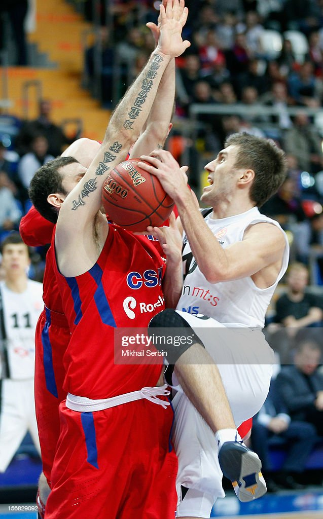 s Belgrade competes with Vladimir Micov, #5 of CSKA Moscow in action during the 2012-2013 Turkish Airlines Euroleague Regular Season Game Day 7 between CSKA Moscow v Partizan mt:s Belgrade at Megasport Sports Palace on November 22, 2012 in Moscow, Russia.
