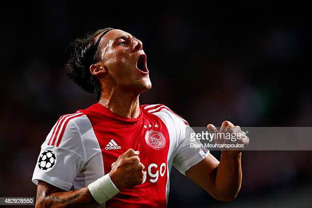 Nemanja Gudelj of Ajax celebrates scoring his teams second goal of the game during the third qualifying round 2nd leg UEFA Champions League match...