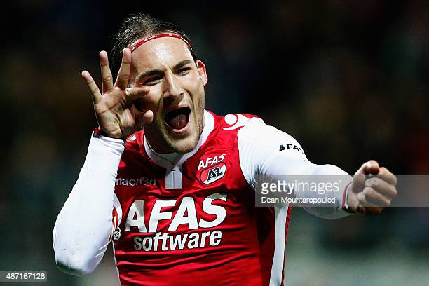 Nemanja Gudelj of AZ celebrates scoring the first goal of the game from the penalty spot during the Dutch Eredivisie match between AZ Alkmaar and SC...