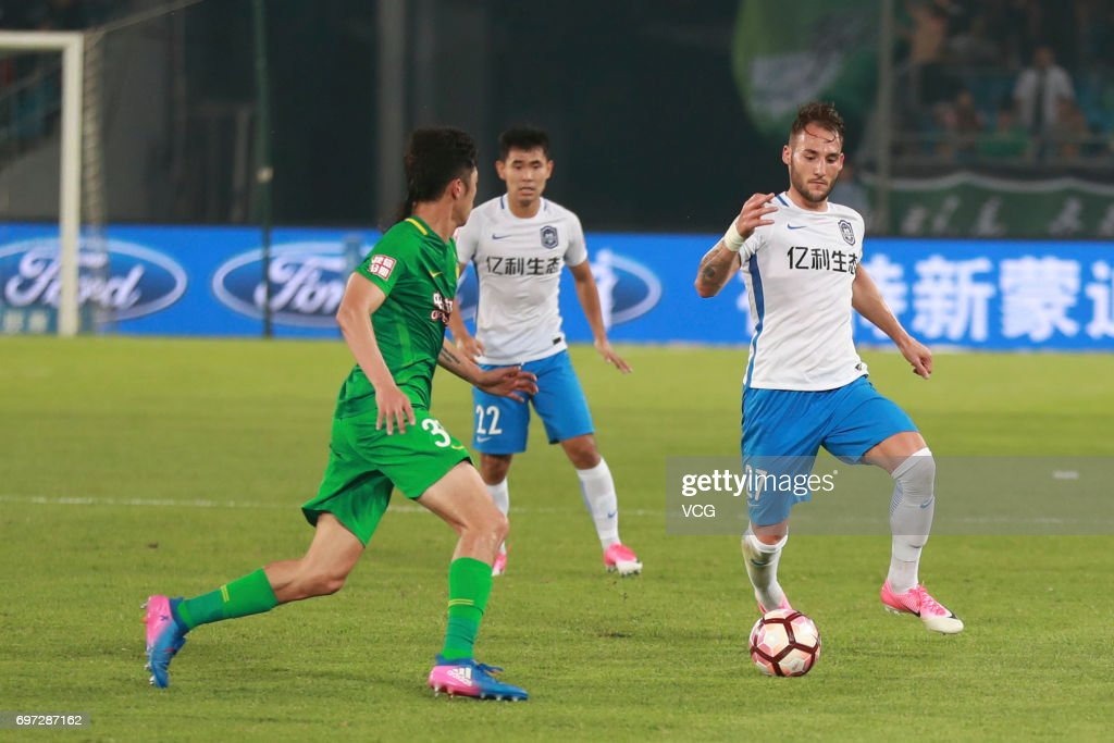 Nemanja Gudelj #27 of Tianjin Teda controls the ball during the 13th round match of 2017 Chinese Football Association Super League (CSL) between Beijing Guoan and Tianjin Teda at Beijing Workers' Stadium on June 18, 2017 in Beijing, China.