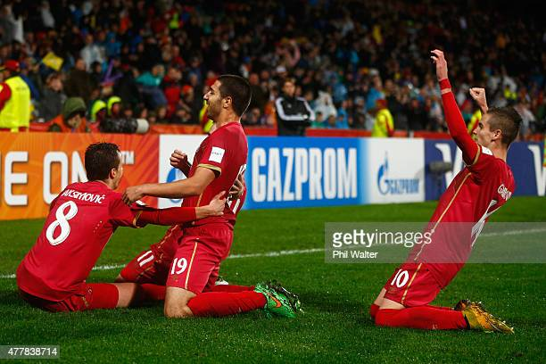 Nemanja Maksimovic of Serbia celebrates scoring the match winning goal during the FIFA U20 World Cup Final match between Brazil and Serbia at North...