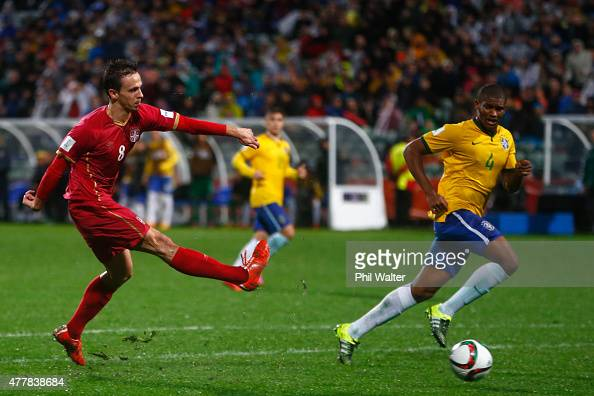 Nemanja Maksimovic of Serbia scores the match winning goal during the FIFA U20 World Cup Final match between Brazil and Serbia at North Harbour...