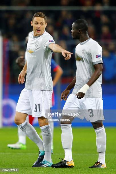 Nemanja Mati and Eric Bailly of Manchester United is seen during the UEFA Champions League match between CSKA Moscow and Manchester United at VEB...