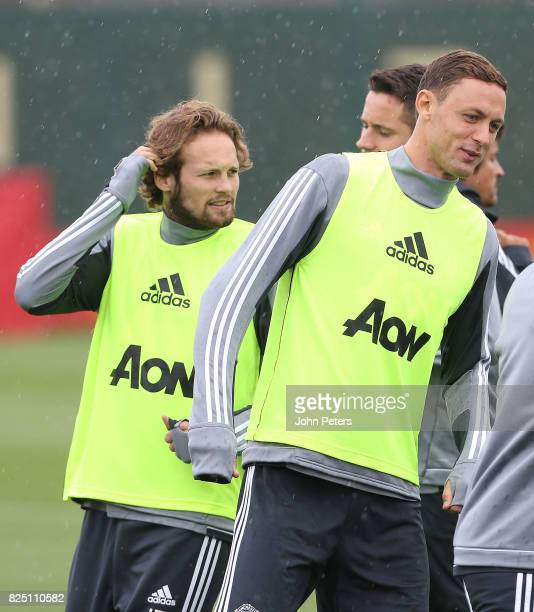 Nemanja Matic and Daley Blind of Manchester United in action during a first team training session at Aon Training Complex on August 1 2017 in...