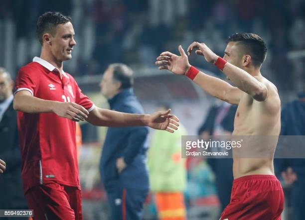 Nemanja Matic and Dusan Tadic of Serbia celebrate their victory after FIFA 2018 World Cup Qualifier between Serbia and Georgia at stadium Rajko Mitic...