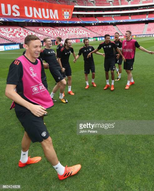 Nemanja Matic and Scott McTominay Daley Blind Juan Mata Jesse Lingard and Phil Jones of Manchester United in action during a training session ahead...