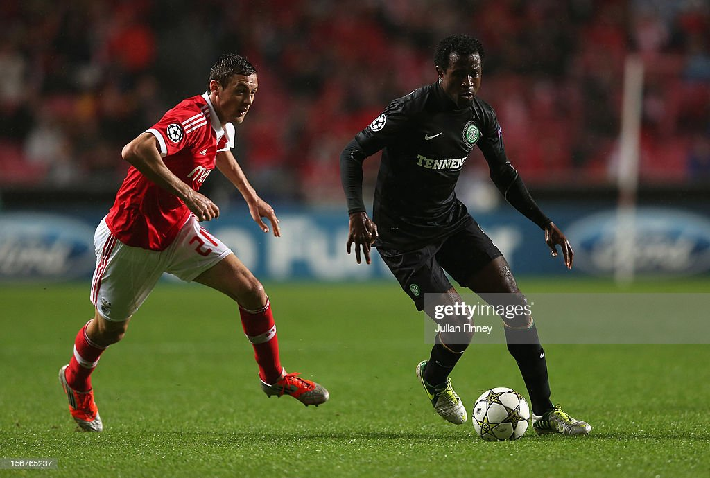 Nemanja Matic of Benfica chases Efrain Ambrose of Celtic during the UEFA Champions League, Group G match between SL Benfica and Celtic FC at Estadio da Luz on November 20, 2012 in Lisbon, Portugal.