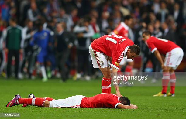 Nemanja Matic of Benfica consoles a dejected Oscar Cardozo of Benfica after defeat in the UEFA Europa League Final between SL Benfica and Chelsea FC...