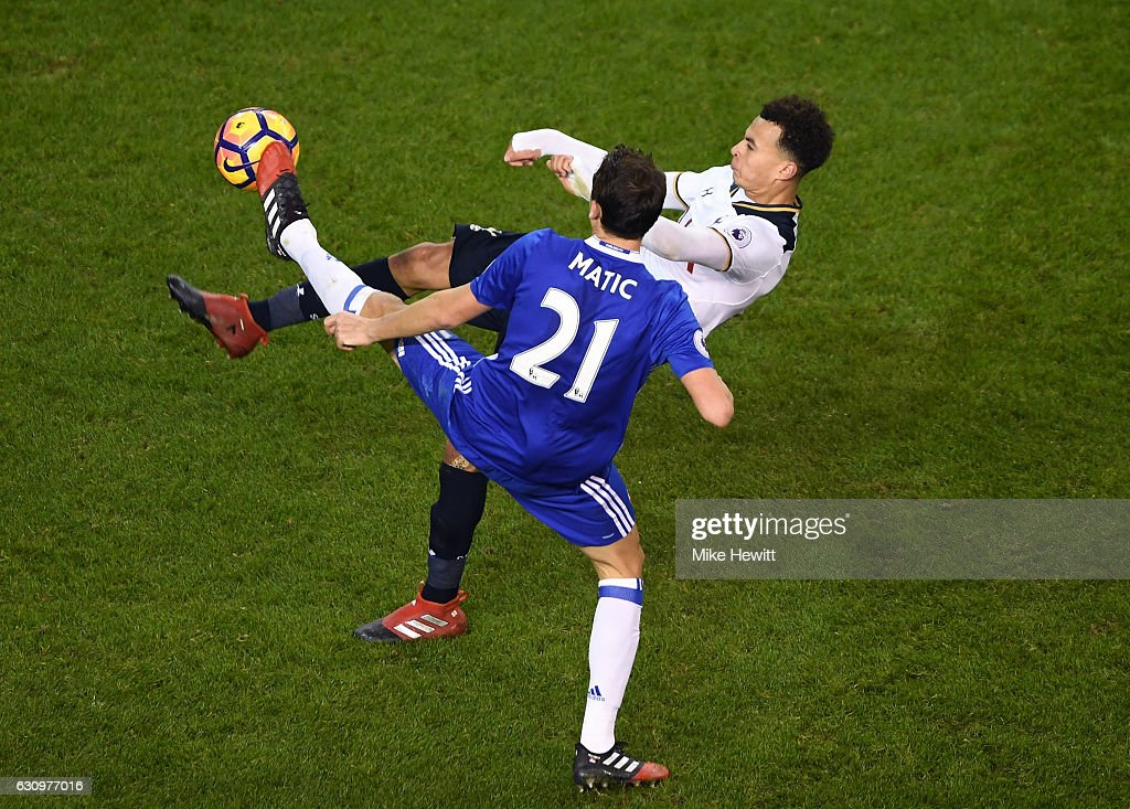 Nemanja Matic of Chelsea (L) and Dele Alli of Tottenham Hotspur (R) battle for possession during the Premier League match between Tottenham Hotspur and Chelsea at White Hart Lane on January 4, 2017 in London, England.