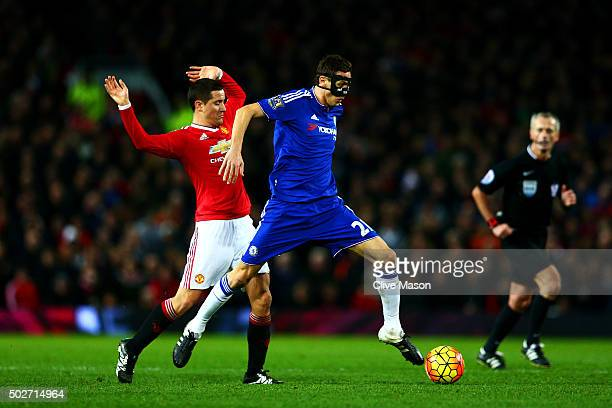 Nemanja Matic of Chelsea battles for the ball with Ander Herrera of Manchester United during the Barclays Premier League match between Manchester...