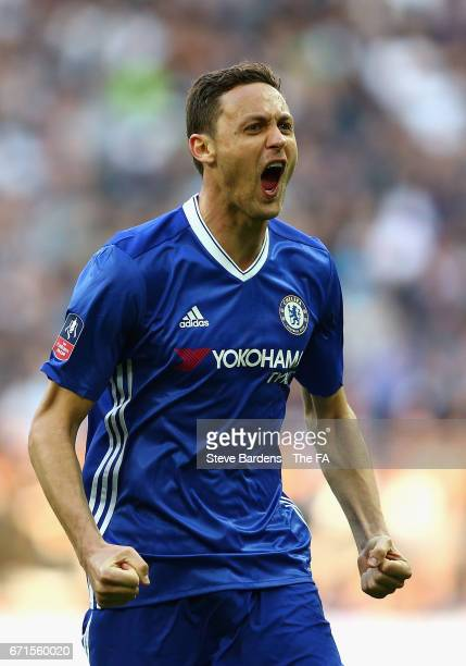 Nemanja Matic of Chelsea celebrates after he scores his sides fourth goal during The Emirates FA Cup SemiFinal between Chelsea and Tottenham Hotspur...