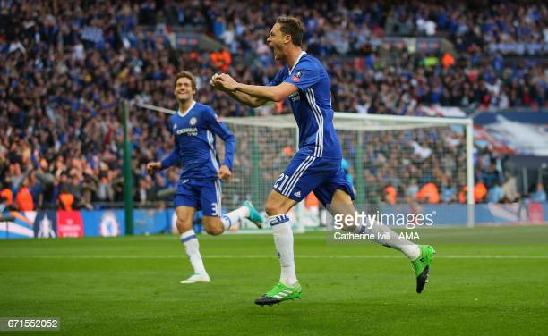Nemanja Matic of Chelsea celebrates after he scores to make it 42 during the Emirates FA Cup semifinal match between Tottenham Hotspur and Chelsea at...