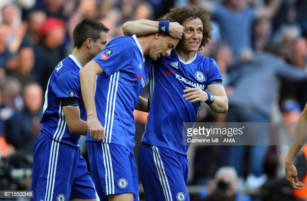 Nemanja Matic of Chelsea celebrates after he scores to make it 42 with David Luiz of Chelsea during the Emirates FA Cup semifinal match between...