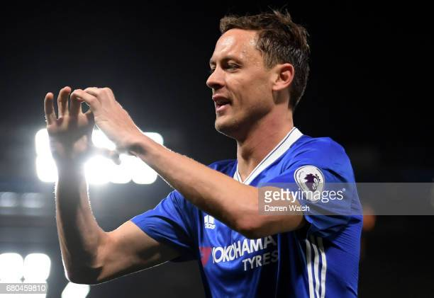 Nemanja Matic of Chelsea celebrates after scoring his sides third goal during the Premier League match between Chelsea and Middlesbrough at Stamford...
