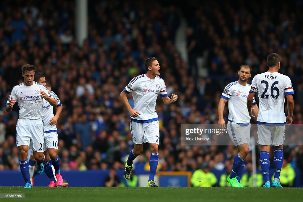 Nemanja Matic of Chelsea celebrates scoring his team's opening goal during the Barclays Premier League match between Everton and Chelsea at Goodison Park on September 12, 2015 in Liverpool, United Kingdom.
