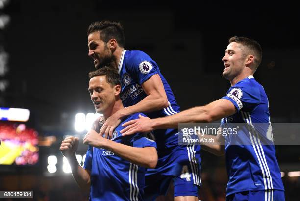 Nemanja Matic of Chelsea celebrates with team mates after scoring his sides third goal during the Premier League match between Chelsea and...