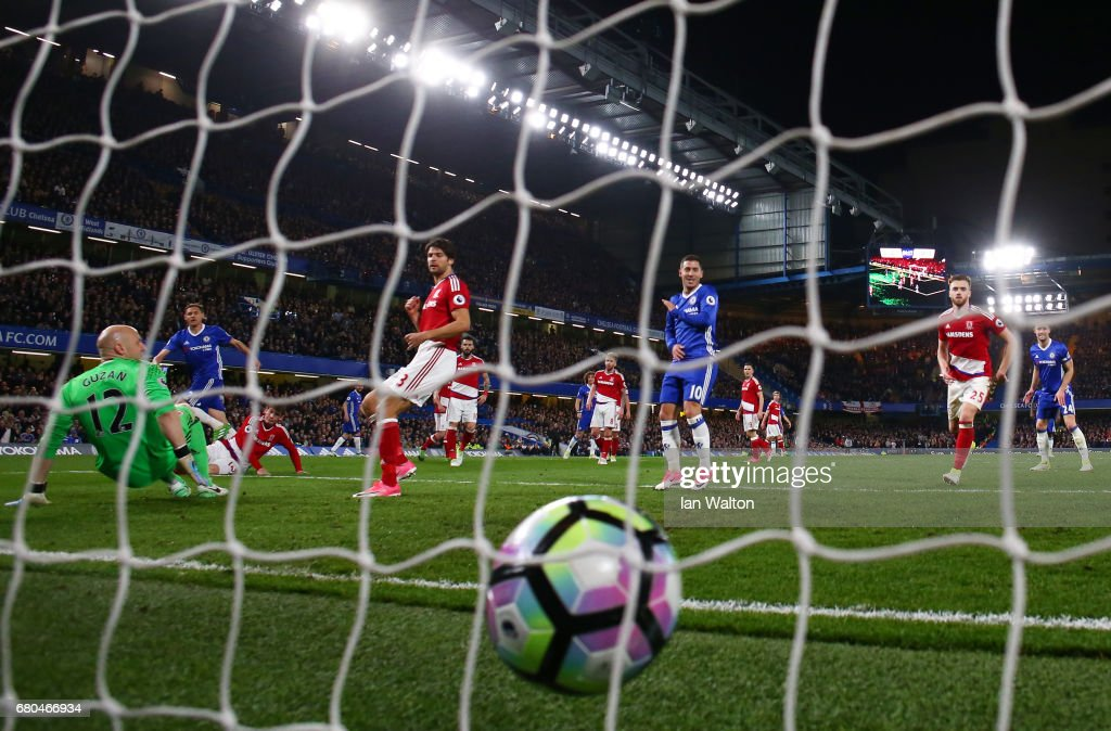 Nemanja Matic of Chelsea scores his team's third goal during the Premier League match between Chelsea and Middlesbrough at Stamford Bridge on May 8, 2017 in London, England.