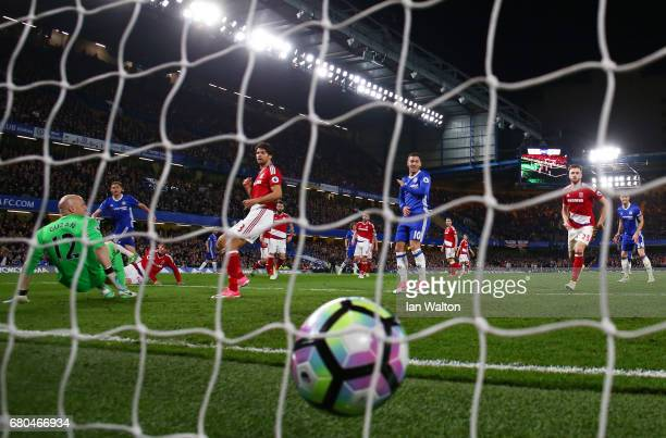 Nemanja Matic of Chelsea scores his team's third goal during the Premier League match between Chelsea and Middlesbrough at Stamford Bridge on May 8...
