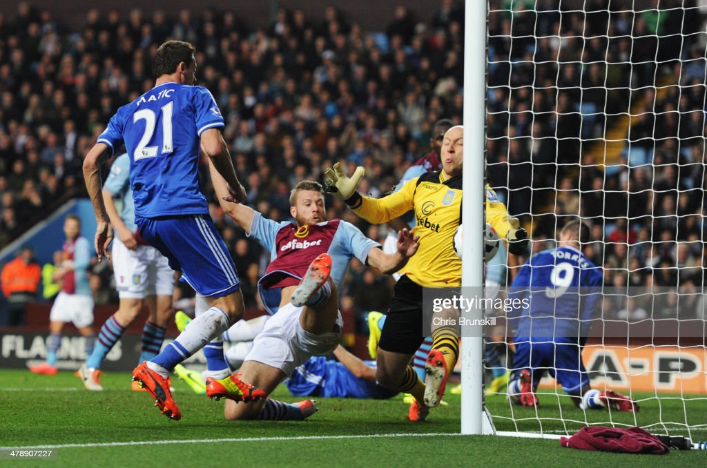 Nemanja Matic of Chelsea (21) shoots past Brad Guzan of Aston Villa, but the goal is disallowed during the Barclays Premier League match between Aston Villa and Chelsea at Villa Park on March 15, 2014 in Birmingham, England.
