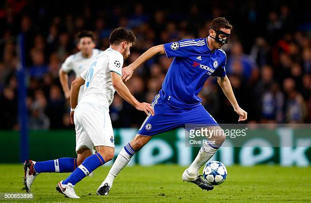Nemanja Matic of Chelsea takes on Ruben Neves of FC Porto during the UEFA Champions League Group G match between Chelsea FC and FC Porto at Stamford...