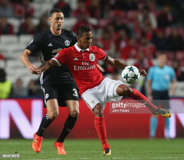 Nemanja Matic of Mancester United in action with Filipe Augusto of Benfica during the UEFA Champions League group A match between SL Benfica and...