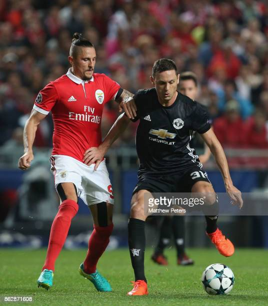Nemanja Matic of Mancester United in action with Ljubomir Fejsa of Benfica during the UEFA Champions League group A match between SL Benfica and...