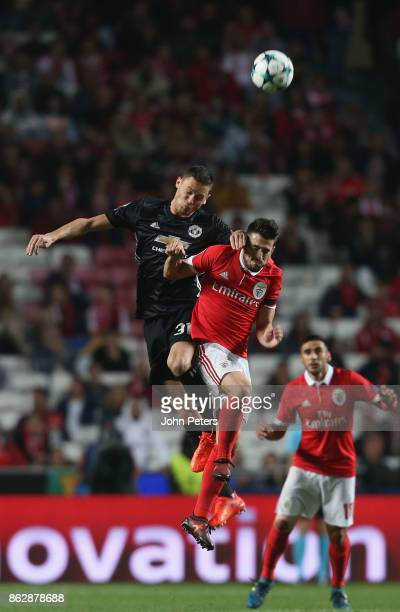 Nemanja Matic of Mancester United in action with Pizzi of Benfica during the UEFA Champions League group A match between SL Benfica and Manchester...